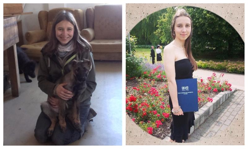 левое фото, на практике в питомнике полицейских собак в комнате для поиска лакомств, правое фото – день вручения диплома