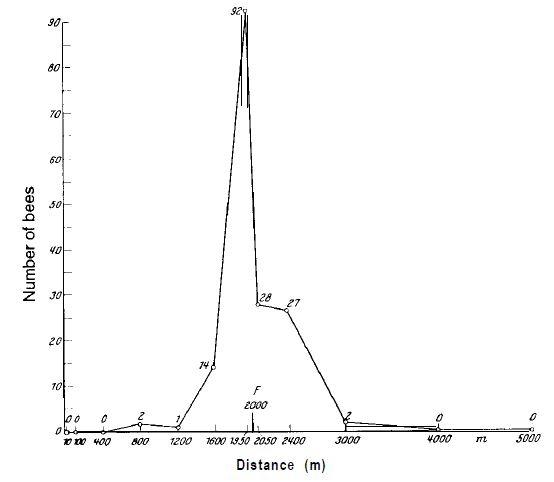Рисунок 5. «Ступенчатый» эксперимент. Место для кормления (F) находится на расстоянии 2000 м от наблюдательного улья. Числа соответствуют числу новичков, которые сели на ароматизированные тарелки (без пищи) в течение 3-часового периода наблюдения.